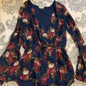 Cotton Candy Floral Romper with Bell Sleeves